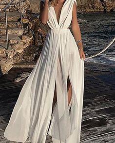 Women Summer Bohemian Dress 2019 Sexy Chiffon Party Night Club Dress V-Neck Casual Long White Dress Bohemian Summer Dresses, Beach Dresses, Club Dresses, Boho Dress, Sexy Dresses, Casual Dresses, Evening Dresses, Formal Dresses, Maxi Robes