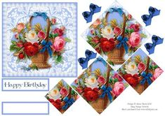 "Basket of Roses and Lace Pyramid Card on Craftsuprint designed by Julene Harris - This is an elegant pyramid card with a basket of beautiful roses with decoupage accent ribbons. Created using vintage artwork. Included labels: ""Happy Birthday"" and one blank label that you can customize for any occasion. Please click on my name to view more of my designs. - Now available for download!"