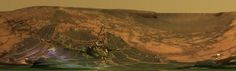 This view combines many images taken by Opportunity's panoramic camera (Pancam) from Oct. 23 to Dec. 11, 2007. Images taken through Pancam filters centered on wavelengths of 753 nanometers, 535 nanometers and 432 nanometers were mixed to produce an approximately true-color panorama. Some visible patterns in dark and light tones are the result of combining frames that were affected by dust on the front sapphire window of the rover's camera.