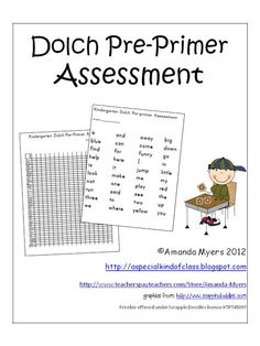 Pre-Primer Dolch Assessment Kit (free; from Freebielicious)