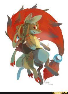 Zoroark and Lucario Pokemon Fan Art, Pokemon Stuff, Cool Pokemon, Pokemon Zoroark, Best Pokemon Ever, Pokemon Special, What To Draw, Baby Kittens, Illusions