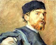 Wyspianski, Stanislaw (1869-1907) 1893-94 Self-Portrait. Oil. a Polish playwright, painter, illustrator,  poet, as well as interior and furniture designer. A patriotic writer, he created a series of symbolic, national dramas within the artistic philosophy of the Young Poland Movement