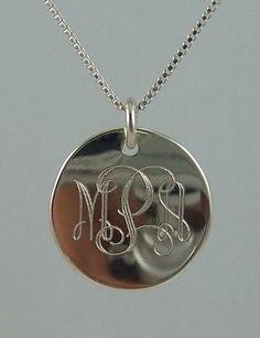 Simple sterling silver monogram pendant