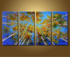 Art Hand-Painted Landscape Silver Birch Tree Oil Painting On Canvas Ehp473 AU