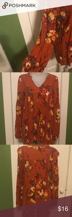 Blu Pepper Boho Floral Tunic/Mini Dress- Large Beautiful fall/winter toned floral tunic by Blu Pepper in a size large. Cute embroidery detail on the neckline and arms with blouson style sleeves. Purchased from one of my favorite online boutiques to wear as a tunic, but the length is a bit awkward on me...would definitely work better for someone a bit shorter (I'm 5-10) to pair with leggings or skinny jeans. Worn a time or two and in excellent condition from a smoke-free, pet-friendly home…