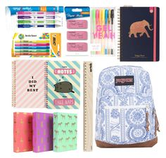 """Back to school supplies haul ✏️"" by inshe ❤ liked on Polyvore featuring interior, interiors, interior design, home, home decor, interior decorating, JanSport, ban.do, Pusheen and Paper Mate"