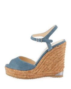 Jimmy Choo Perla Suede Wedge Sandal, Slate #beyonce #blackpanther #newyork #celebrity #nyfw #jewelry #fashion #style #stylish #love #cute #photooftheday #nails #hair #beauty #beautiful #instagood #design #dress #shoes #heels #insta #outfit #purse #shopping