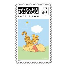 Baby Pooh and Tigger Postage Stamp