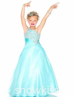 >> Click to Buy << Aqua Green Red One Shoulder Girls Pageant Dresses Crystals A Line Rhinestones Beaded Top Flower Girl Gowns #Affiliate