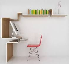 Three dimensional desk and shelving uses vertical real estate creatively