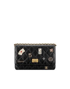 wallet on chain, aged calfskin & charms-black - CHANEL