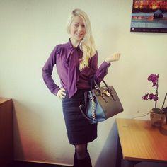 Frauenmasche: Meine erste Bluse (Schluppenbluse in lila) (RUMS #...