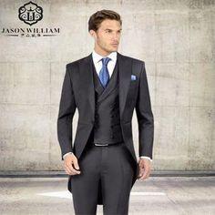 (Jacket+Pants+Tie) Dark Slim Handsome Groom Tuxedos