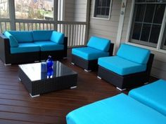 Amazon.com: Luxxella Outdoor Patio Wicker MALLINA Sofa Sectional Furniture 7pc All Weather Couch Set TURQUOISE: Patio, Lawn & Garden