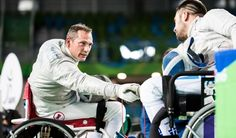 Pierre Mainville Gallery 5 - Excellent sportsmanship was on display after Canadian wheelchair fencer Pierre Mainville, left, lost his quarter-final bout to Greece's Panagiotis Triatafyllou.