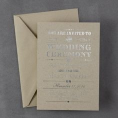 Rustic Wedding in Kraft Cardstock and Silver Foil Ink - This contemporary invitation is shown with a rustic design. Available in several cardstock and ink color  combinations