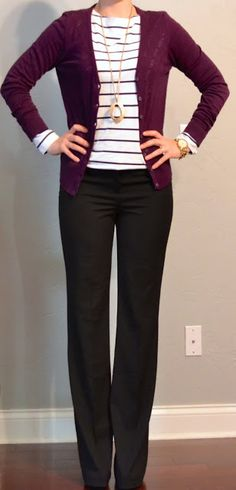Business professional work outfit: purple cardigan, brown slacks, white and maroon striped top.