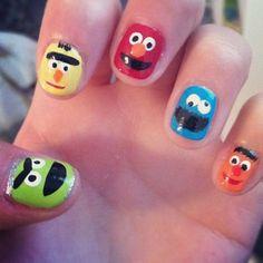 Sesame Street Character Nail Design
