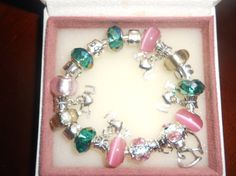 Pink & Dark GreenAuthentic  Pandora by Lulujewelrytreasures, $89.99