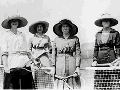 Old-fashioned Tennis ladies with hats