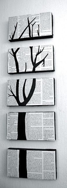 Shoe box lids, book pages, glue and a some black paint...great idea!