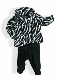 Conjunto casaco de pelo com motivo zebra e calça tricot preta Menina