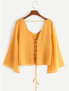 Shop Kimono Sleeve Criss Cross Lace-Up Blouse online. SheIn offers Kimono Sleeve Criss Cross Lace-Up Blouse & more to fit your fashionable needs. Hijab Fashion, Fashion Clothes, Girl Fashion, Fashion Outfits, Fashion Black, Fashion Ideas, Womens Fashion, Umgestaltete Shirts, Shirt Blouses