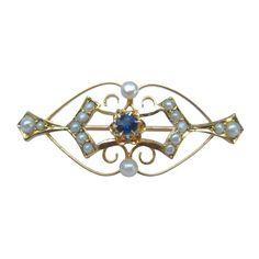 Antique Seed Pearl & Sapphire Lingerie Pin Brooch 10K by gandsco