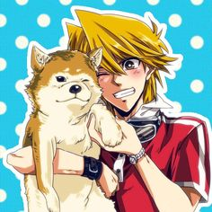Awww... Jonouchi with a shiba inu, this is brimming with cuteness #YuGiOh #Joey #Wheeler