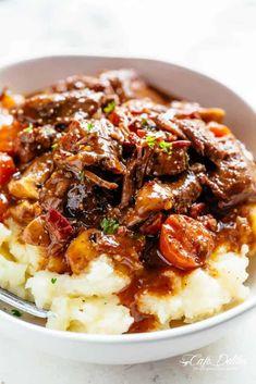Beef Bourguignon (Julia Child Recipe) - Cafe Delites Stew Meat Recipes, Slow Cooker Recipes, Cooking Recipes, Beef Chunks Recipes, Diced Beef Recipes, Easy Steak Recipes, Cheap Recipes, Vegetarian Recipes, Healthy Recipes