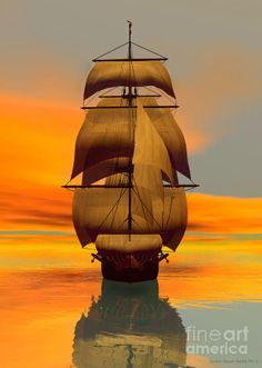 At Full Sail Canvas Print / Canvas Art by Sandra Bauser Digital Art