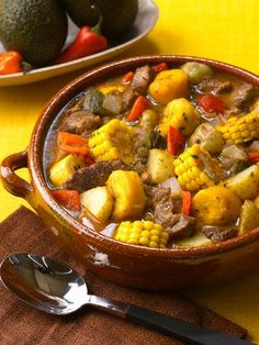 Special occasion food- The ultimate Dominican party food is Sancocho. Sancocho is like a stew or soup. It is made up of different types of meats and lots of vegetables. It is an old tradition and comfort food. Boricua Recipes, Comida Boricua, Haitian Food Recipes, Mexican Food Recipes, Ethnic Recipes, Beef Recipes, Cooking Recipes, Dutch Recipes, Food Porn