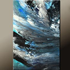 Blue Abstract Art Painting on Canvas Original 24x36 by wostudios, $169.00