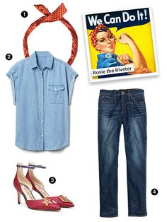 Rosie the Riveter Prepare your best flexin' poses. Rosie The Riveter Halloween Costume, Best Friend Halloween Costumes, Halloween Inspo, Homemade Halloween Costumes, Halloween Diy, Diy Clothes Closet, Diy Summer Clothes, Easy Diy Costumes, Diy Clothes Refashion