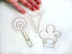 Back to School Set of 3 Paper clip, Bookmark, for Party Favors, ice cream, lollipop, hand made in Italy, For Weddings, Communion, Baptism.