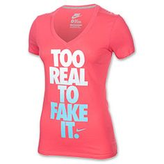 Women's Nike Too Real Mid V-Neck T-Shirt | FinishLine.com | Geranium/Dark Grey Heather/White