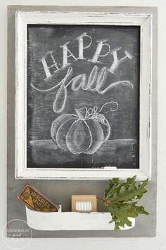Rustic and Neutral Fall Home Happy Fall Chalkboard Fall Chalkboard Art, Blackboard Art, Chalkboard Print, Chalkboard Lettering, Chalkboard Designs, Chalkboard Ideas, Chalkboard Sayings, Chalk Fonts, Kitchen Chalkboard