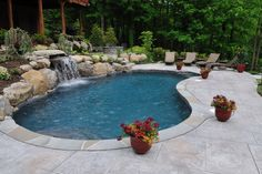 Kidney Shaped Pool With Waterfall...would love to have this someday