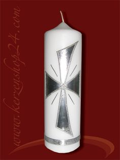 Trauerkerze A-1013 Première Communion, Pillar Candles, Ceramics, Candles, Xmas, First Holy Communion, Candle, Decorating Candles, Candle Art