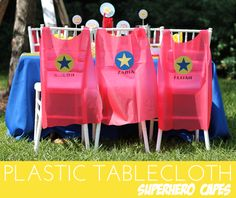 Superhero Party - Plastic Tablecloth Capes by Amber of Damask Love
