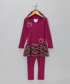 Take a look at this Berry Crocheted Skirted Tunic & Leggings - Toddler & Girls by Kash Ten on #zulily today!