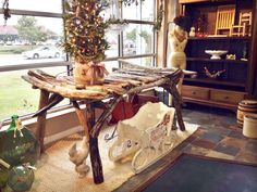 Organic handcrafted driftwood table. Ready to stock the new Organic Out Of Eden soap line. Tables are custom built