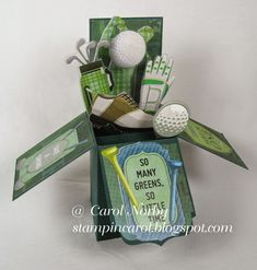 Golf Fanatic Pop-Up Box Card by AngelCarol - Cards and Paper Crafts at Splitcoaststampers Pop Up Box Cards, 3d Cards, Golf Cards, Card Boxes, Easel Cards, Masculine Birthday Cards, Masculine Cards, Fancy Fold Cards, Folded Cards