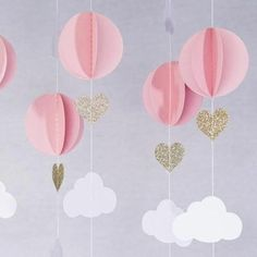 Pink White Gold Glitter Hot Air Balloon Hearts Cloud Baby Nursery Garland Banner Travel These adorable garland decorations will be perfect for your little dreamer. Made with premium card stock paper it will be the perfect decoration for your baby s Ballons Brilliantes, Glitter Ballons, Baby Party, Baby Shower Parties, Shower Party, Girly Baby Shower Themes, Bridal Shower, Pink Und Gold, Pink White