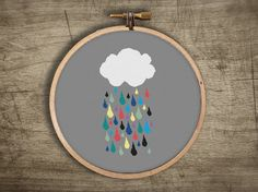 modern cloud raindrops cross stitch pattern retro by futska