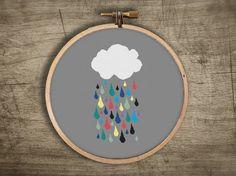 modern cross stitch pattern ++ retro rainbow cloud raindrops ++ pdf INsTAnT…
