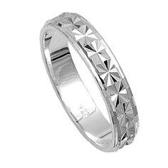 4mm Plain Raised Center Flower Diamond Cut Wedding Band Ring