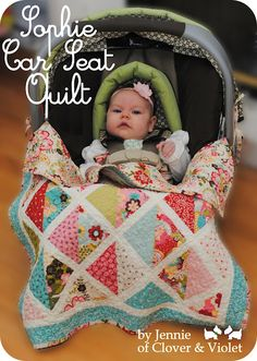 Car Seat Quilt- what a fun little size, great instructions
