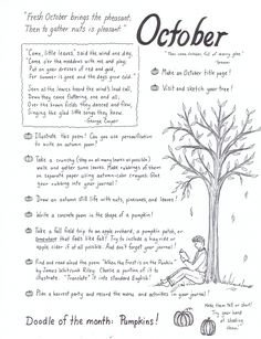 Journaling ideas for each month! My older kids have to do art / creative expression journals for literature and this will help me get the younger ones started, too.