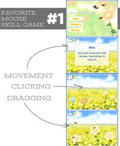 7 kindergarten standards-based computer activities - This game is my favorite place to start and is also #1 on the sequence of games we play in the computer lab since it really give me a good picture of their skills. I love that it incorporates clicking and dragging as a natural part of the sequence.